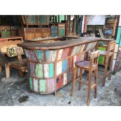 Bar et chaises haute en teck coloré - Kaolan monde et jardins